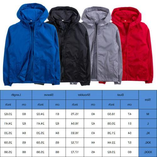 Men's Fashion Windbreaker ZIPPER Jacket Sports Outwear Coat US New