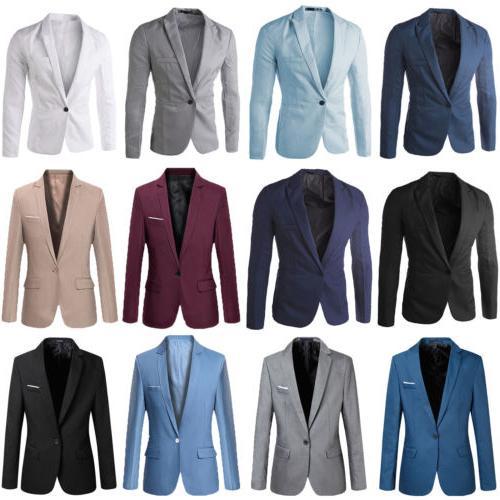 Men's Formal Slim One Business Coat Jacket Casual Tops