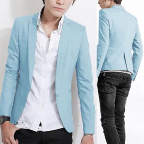 Men's Slim Fit One Button Suit Business Coat Jacket