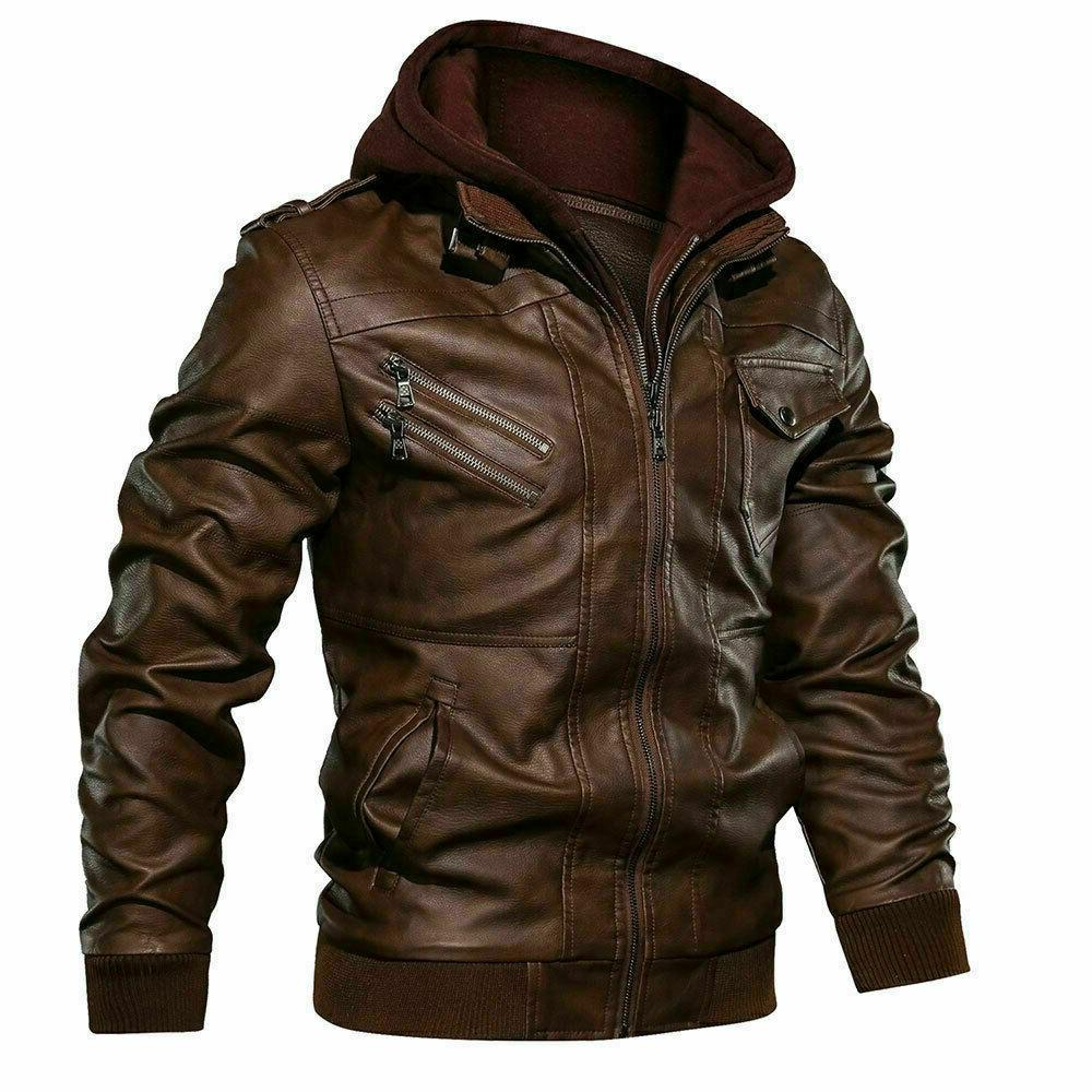 Men's Real Leather Jacket Brown Hooded Jacket Coat