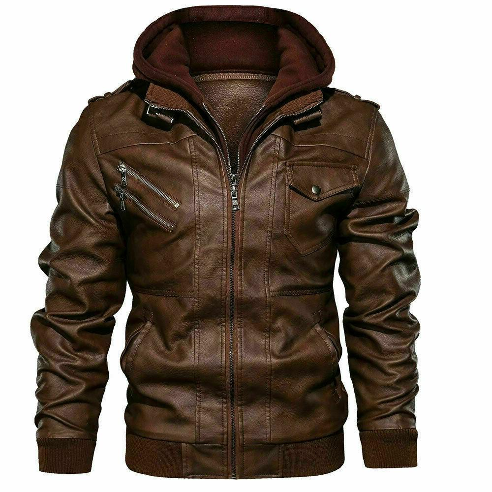 men s genuine real leather jacket brown