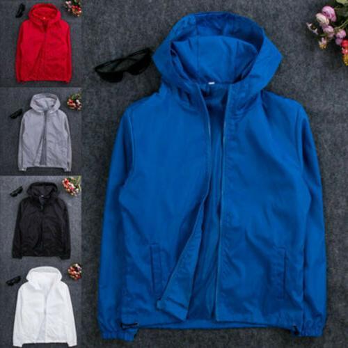 US Men Waterproof Windbreaker ZIPPER Jacket hoodie Light Spo