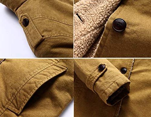 Vcansion Men's Winter Fleece Windproof Single Classic Cotton Windbreaker Jacket Black XL