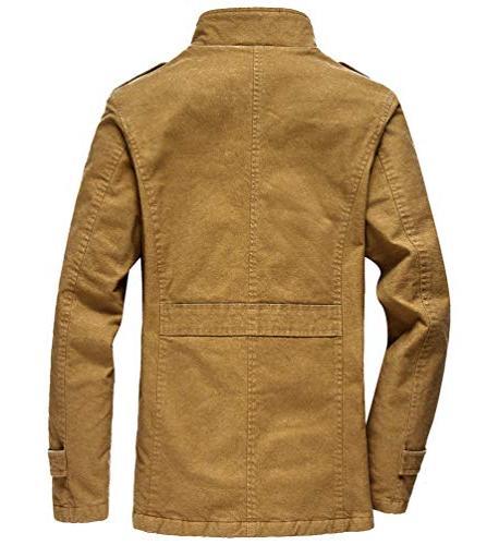 Vcansion Men's Windproof Jacket Wool Outerwear Single Classic Windbreaker Jacket Coats XL