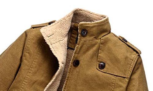 Vcansion Winter Windproof Jacket Wool Single Cotton Windbreaker Coats XL