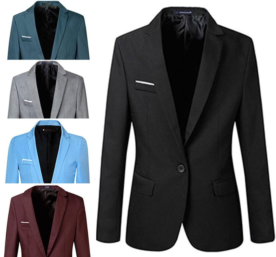 Men Stylish Slim Fit One Button Blazers Lightweight Casual S