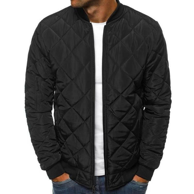 Men Padded Puffer Jacket Casual Zip Up Winter Warm Coat Bomber Outwear