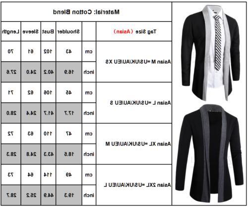Men Winter Casual Slim Long Cardigan Coat Jacket Suit
