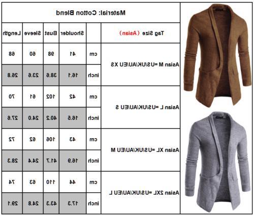 Men Slim Cardigan Trench Coat Jacket Suit