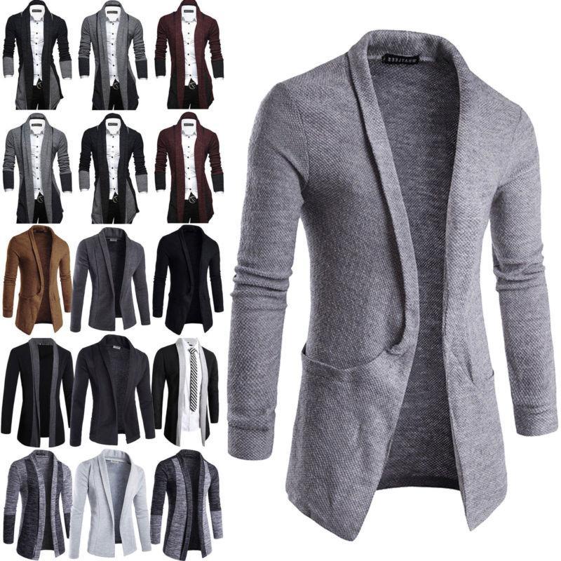 Men Casual Sweater Slim Sleeve Cardigan Trench Coat Suit