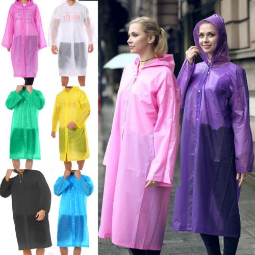 PE Hooded Jacket Men Women Poncho Waterproof Rainwear Raincoat Rain  Coat NEW