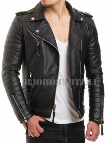 mens black genuine leather jacket slim fit