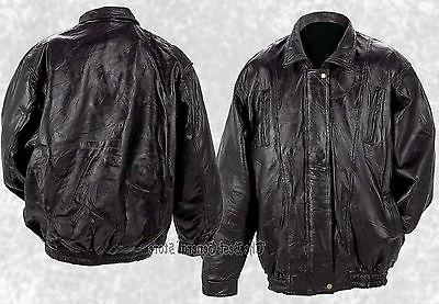 mens bomber style black lambskin leather jacket