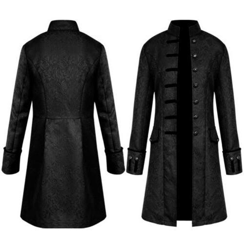 Men Vintage Cosplay Uniform Frock Coat Steampunk Retro Tailc