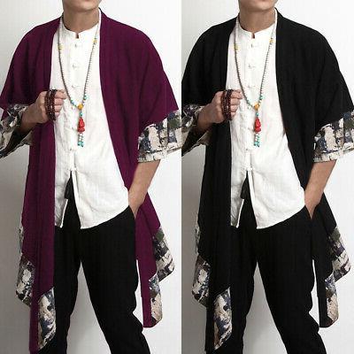 Mens Chinese Japanese Yukata Jacket Cardigan Coat Hem Cape