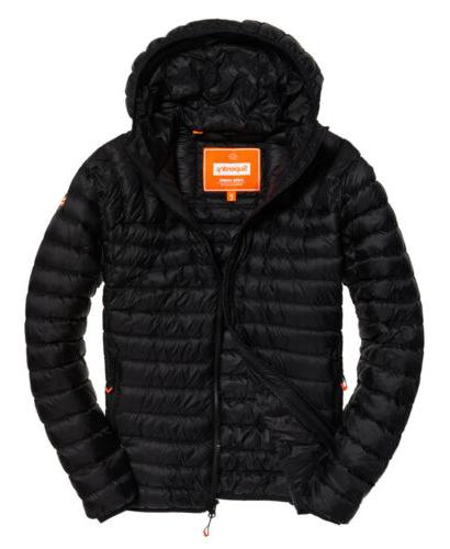Mens Superdry Down Hooded Jacket Black
