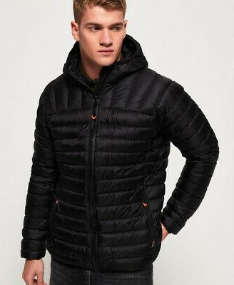 mens core down hooded jacket black