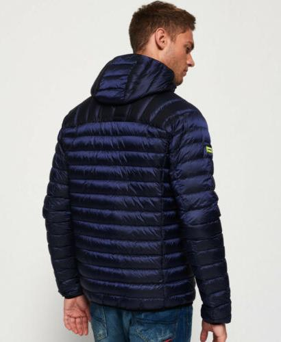 Mens Down Hooded Navy