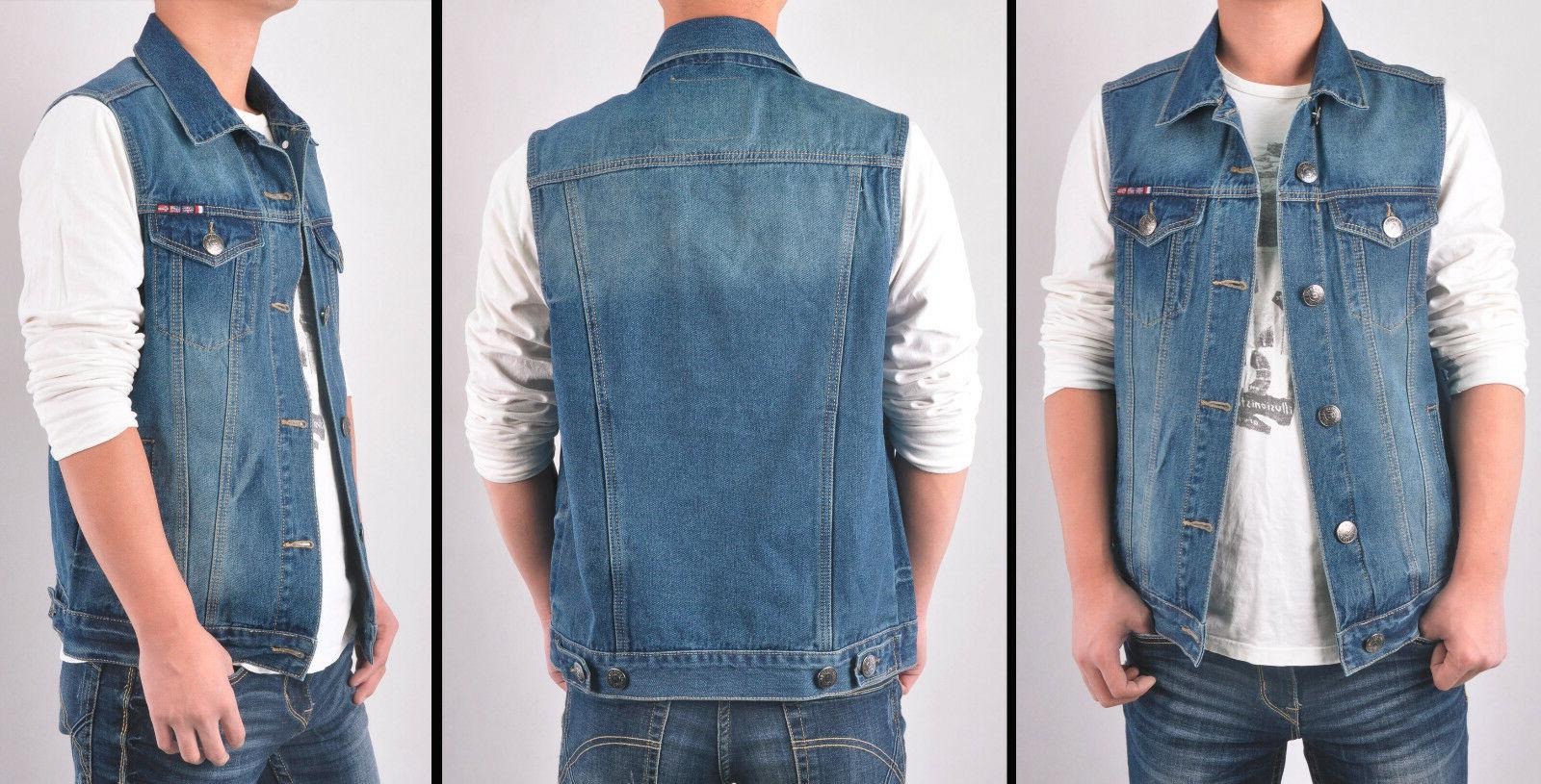 Mens Dark Jacket Sleeveless washed Motojacket Bikerjacket