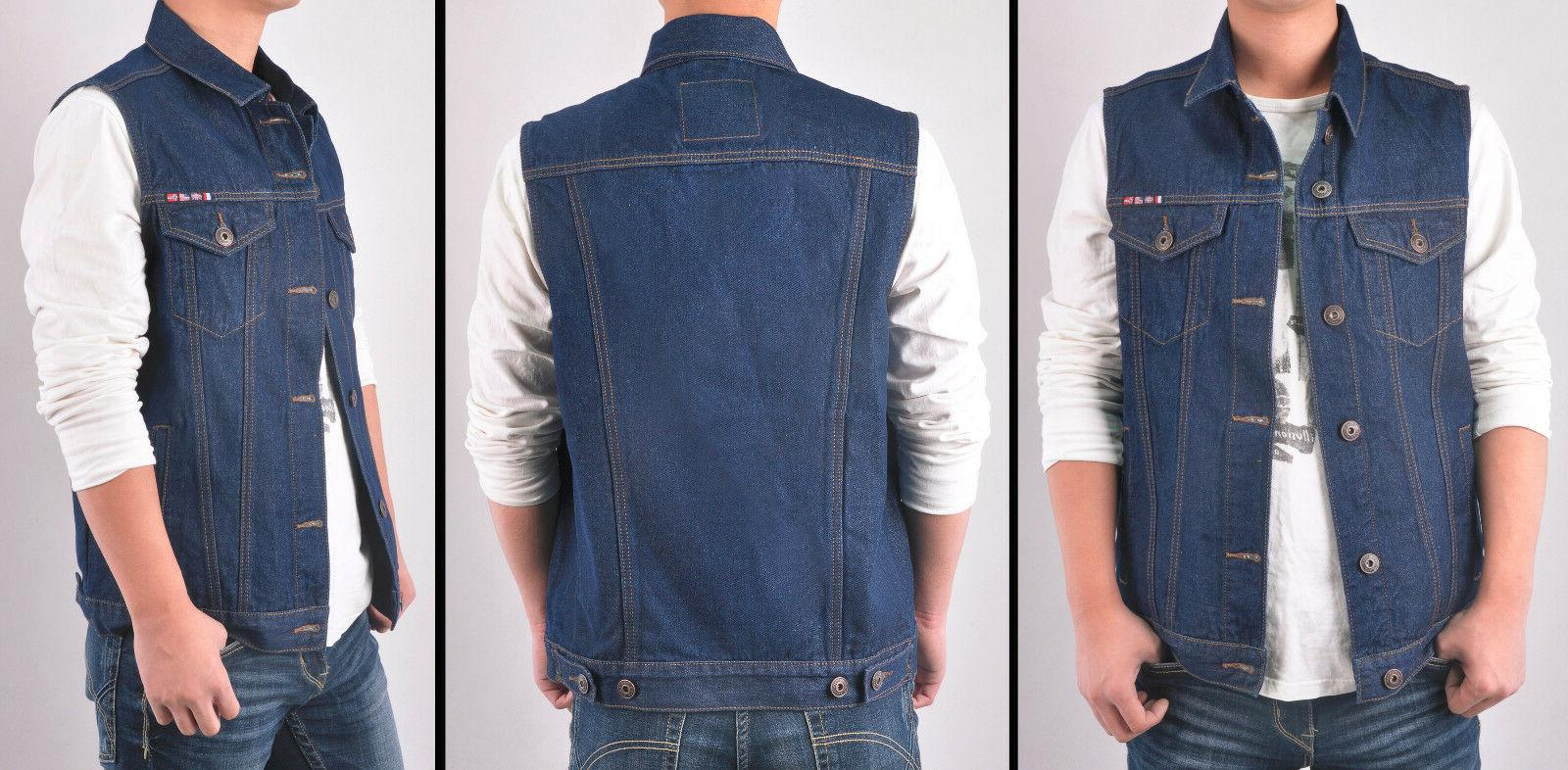 mens dark denim vest jacket sleeveless washed