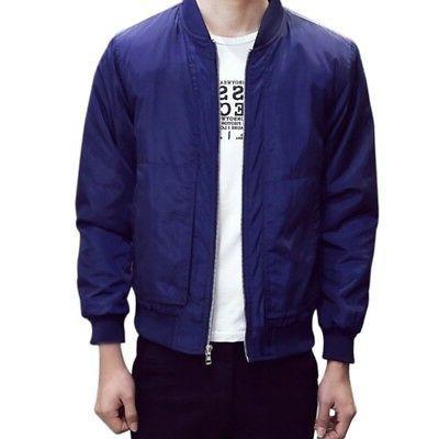 Mens Fashion Bomber Jacket Coat Slim