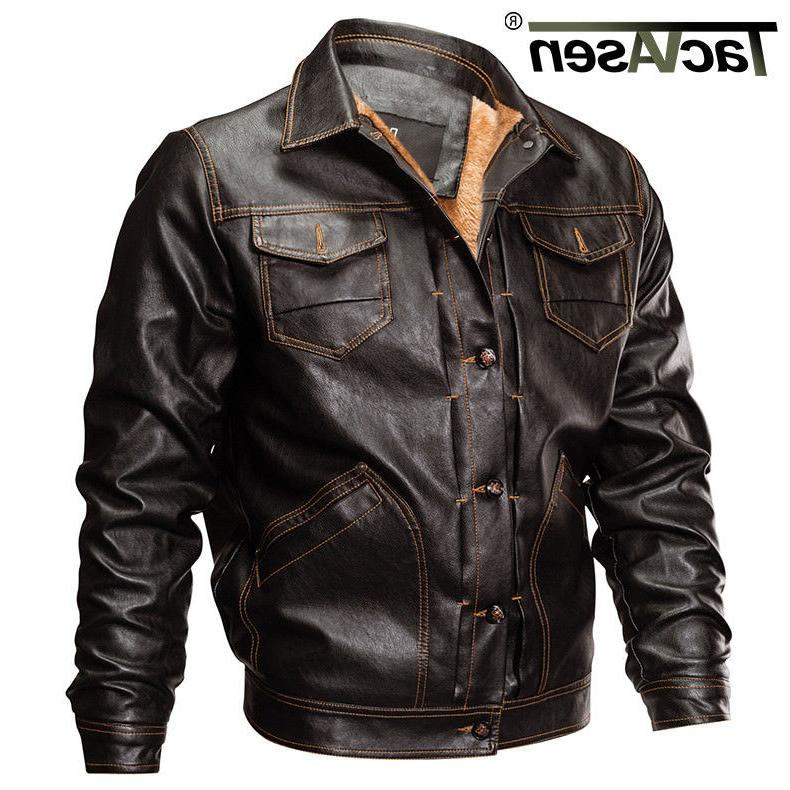 mens fleece lining pu leather jacket winter