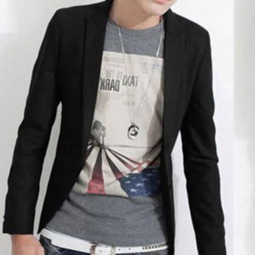 Men Formal Blazer Coat Business Casual Button Suit