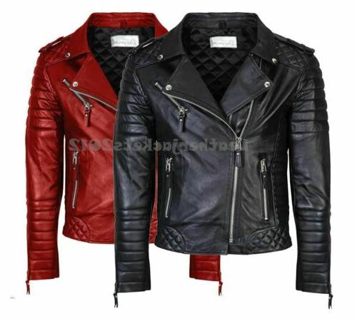 mens genuine real leather jacket asymmetrical biker