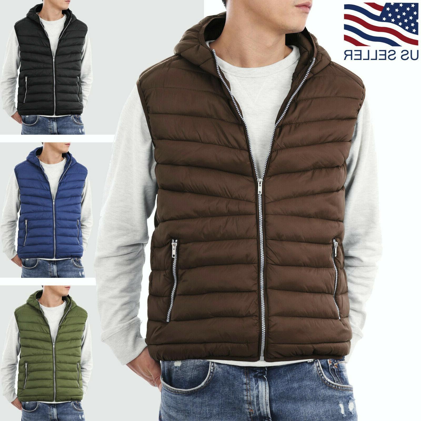 mens hooded vest padding jacket puffer sleeveless