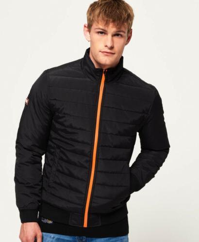 mens international quilted jacket black