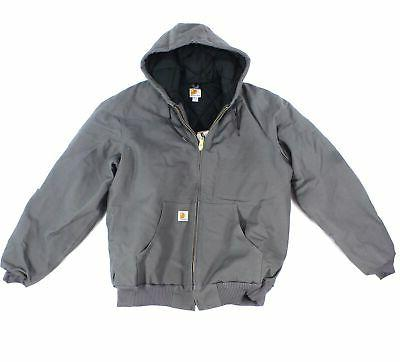 mens jacket gray size xlt hooded quilt