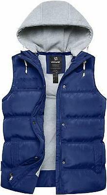 Wantdo Mens Jacket Navy Blue Size L Puffer Hooded Full-Zip V