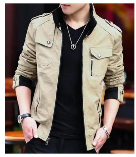 mens military style casual jacket with zipper