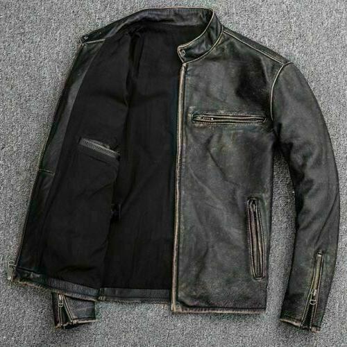 Men's Biker Distressed Real Leather