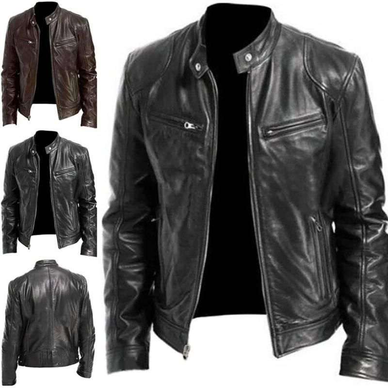 Mens Leather Jacket Motorcycle Biker Stand Collar Zipper Ret