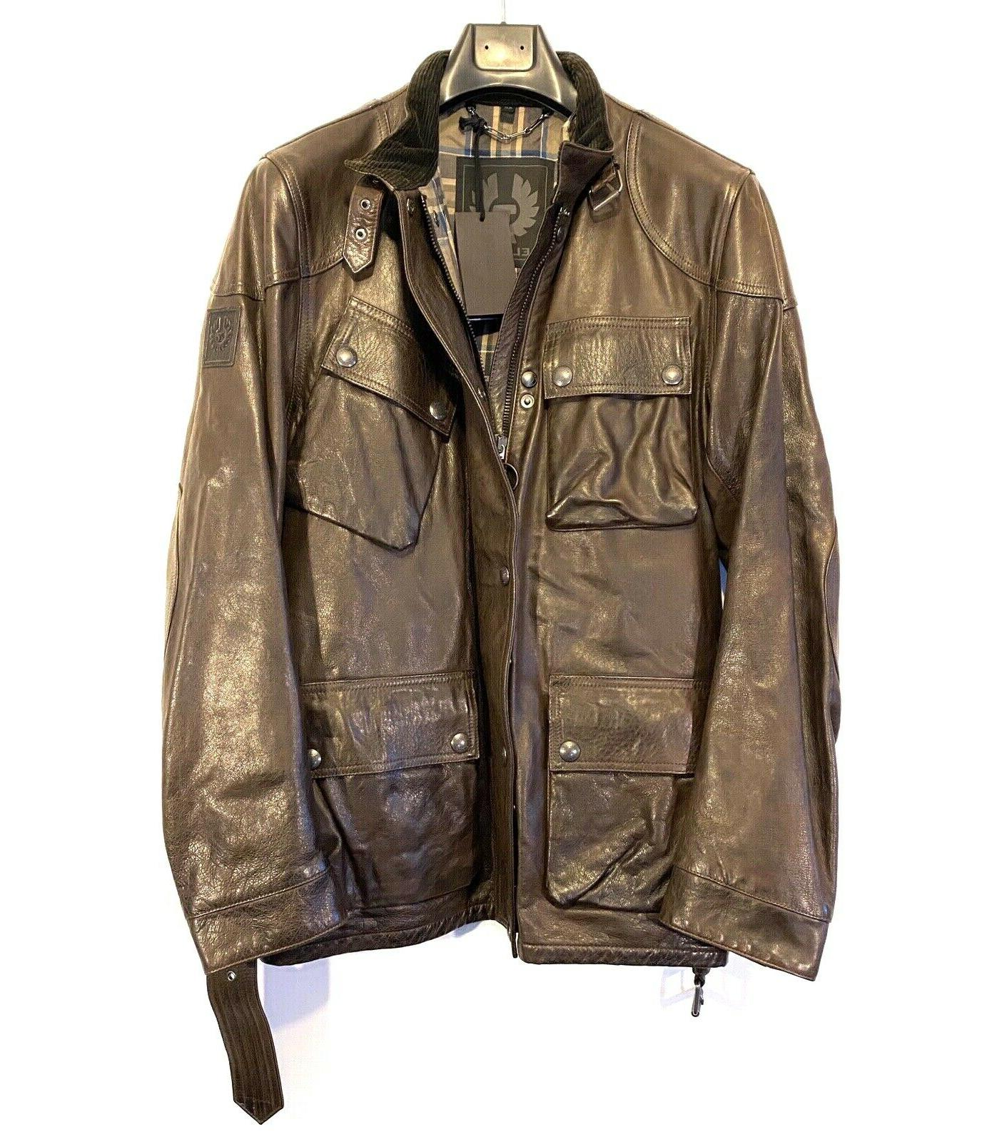 mens panther trialmaster leather jacket dark brown