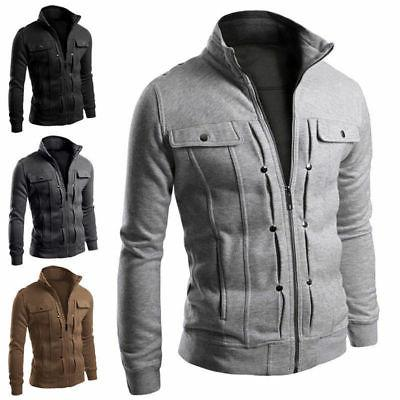 Mens Fit Collar Coat Military Jacket Hot US