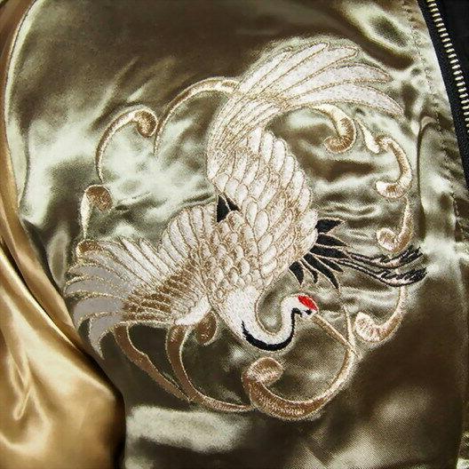 Mens Souvenir Jacket Japanese Pattern Embroidery Beauty Girls