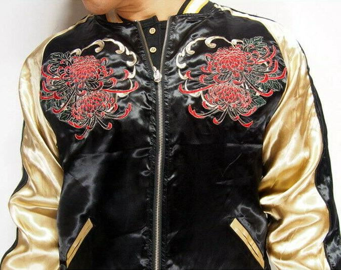 Mens Souvenir Jacket Japanese Pattern Embroidery Sukajan Beauty