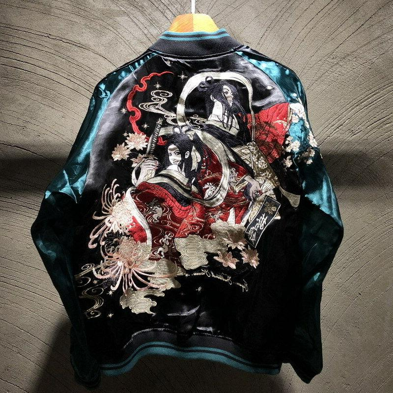 mens souvenir jacket sukajan japanese pattern embroidered