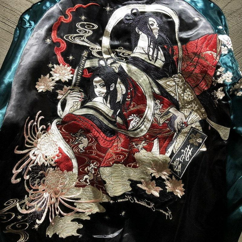 Mens Souvenir Sukajan Japanese Pattern Sword Girl