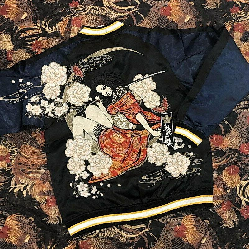 mens souvenir jacket sukajan japanese pattern embroidery