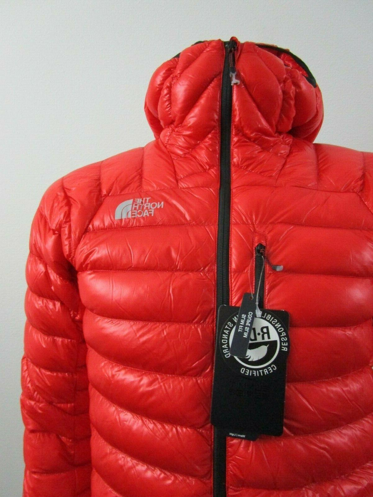 Mens The Face L3 Down Hoodie Insulated Climbing Jacket Fiery