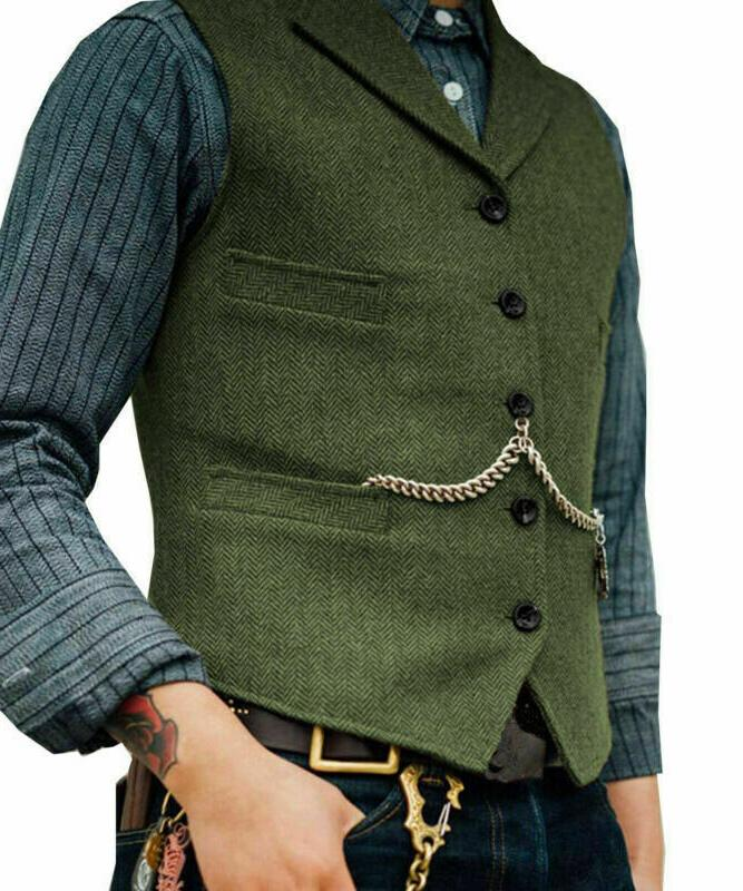 Mens Jacket Herringbone Waistcoat Formal