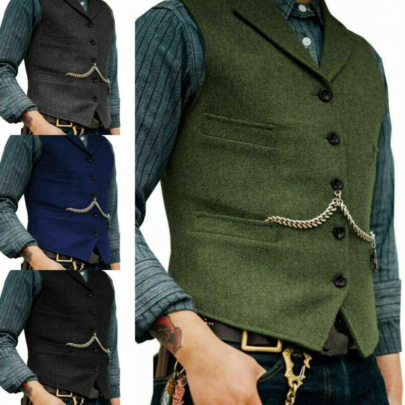 Mens Vest Jacket Herringbone Casual Formal