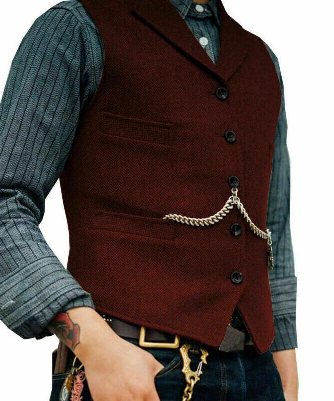 Mens Lapel Vest Jacket Herringbone Formal