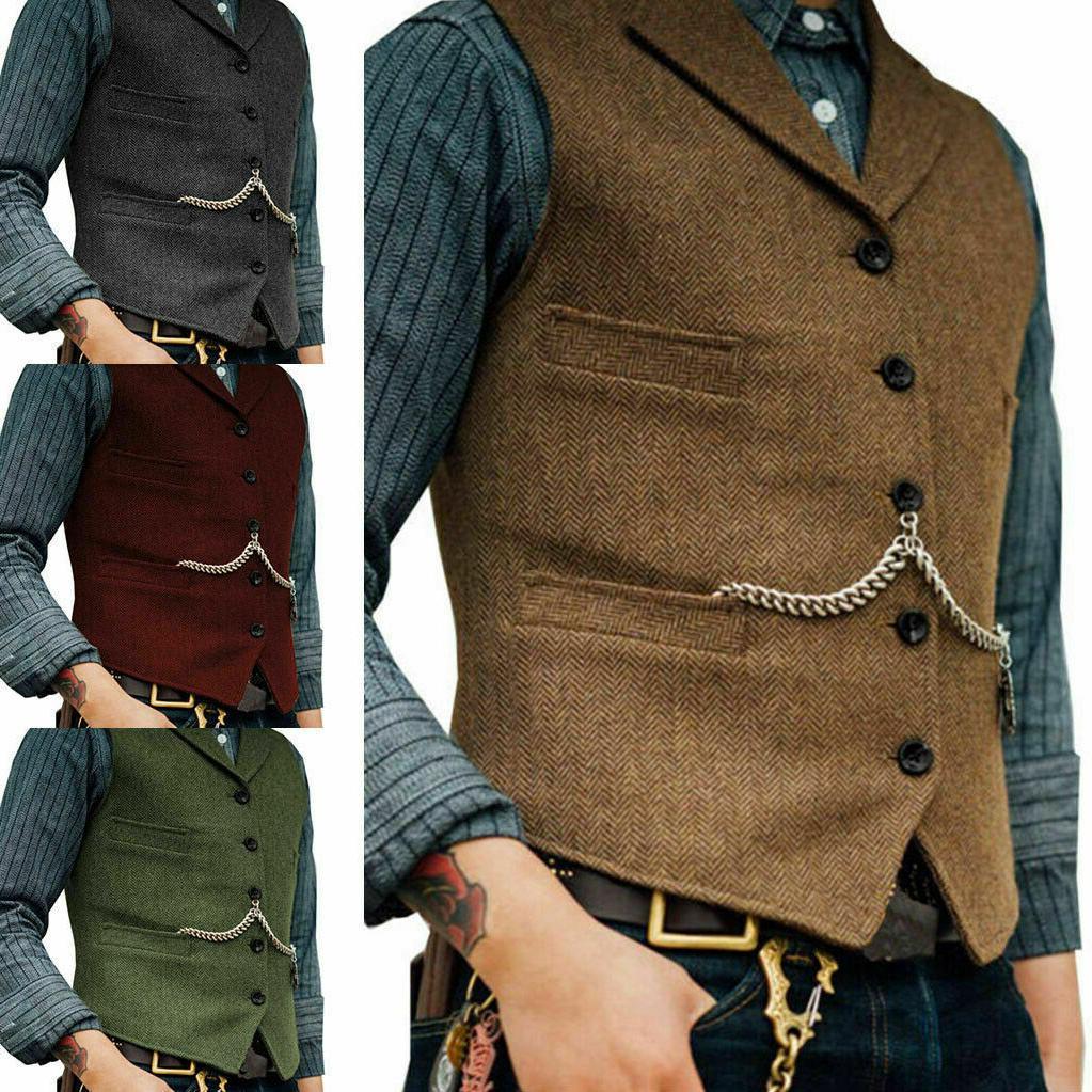 mens tweed lapel vest jacket herringbone waistcoat