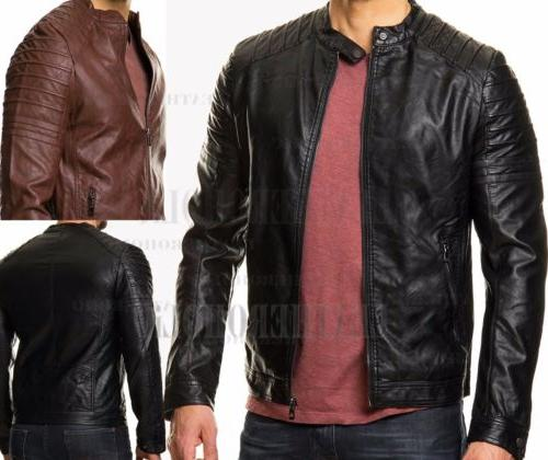 mens vintage black genuine leather jacket slim