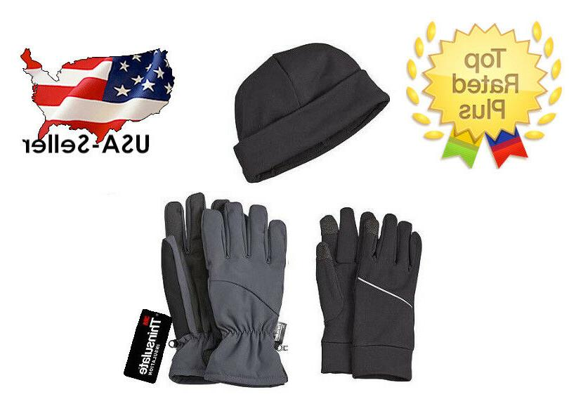Mens Warm Gloves Touchscreen Liners & Hat Set Winter Ski Bee