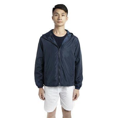 Mens Windbreaker Hood Waterproof Coat Fishing Sport YJ